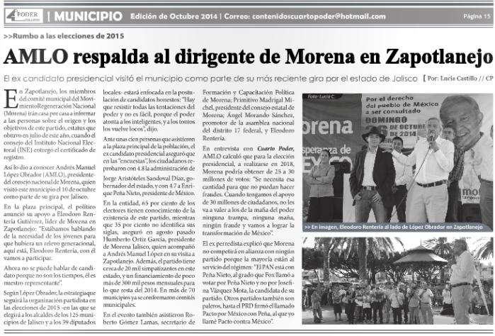 Nota publicada por Cuarto Poder en octubre, la cual informa sobre la visita de López Obrador a Zapotlanejo.