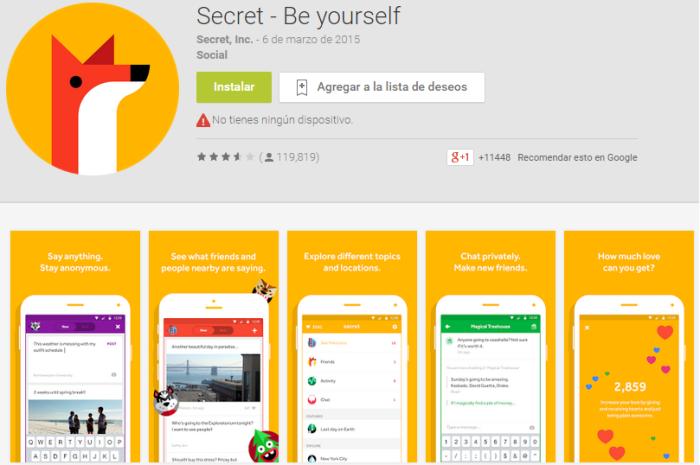 Secret es una aplicación móvil