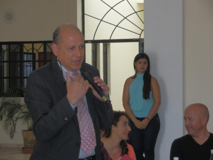 Marcelo Castillero en reunión con empresarios hace unas semanas en Zapotlanejo. Foto: Lucía Castillo