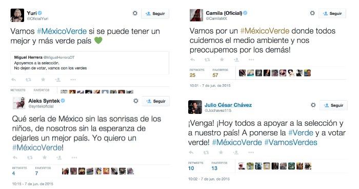 Tuits de la cantante Yuri y la agrupación Camila