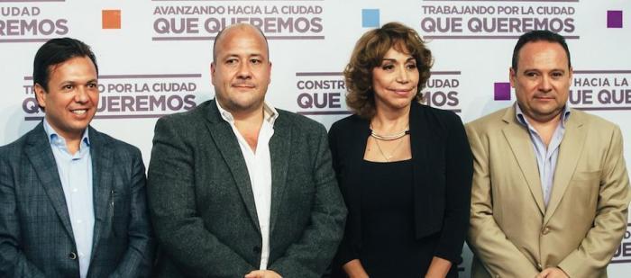 En imagen de izquierda a derecha, Pablo Lemus, Enrique Alfaro, María Elena Limón y Alberto Uribe tras la rueda de prensa de ayer. Foto: http://movimientociudadano.mx/jalisco