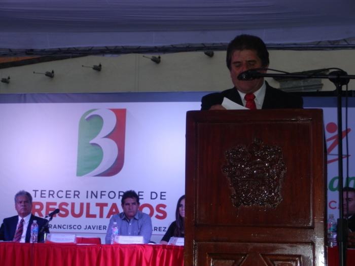 """Francisco Javier """"Güero"""" Pulido en su tercer informe de gobierno. Foto: Lucía Castillo"""