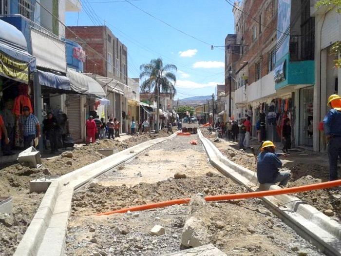 Obra de remodelación de la calle Privada Guadalupe Victoria (Foto: Brandon Olivarez)