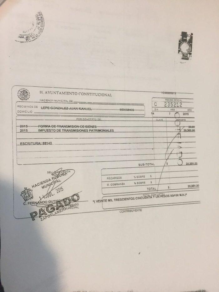 """Recibo de pago por parte de la Tesorería en el que """"consintieron el acto"""", según denunció el alcalde"""
