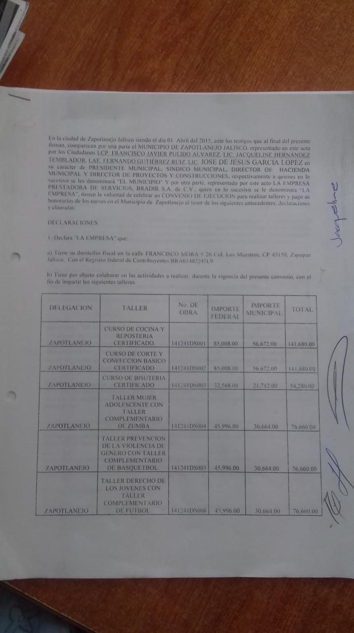 Parte del contrato en el que se ofrecieron servicios de talleres por más de 100 mil pesos